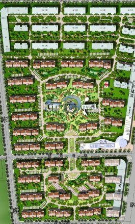 某花园小区景观规划分析彩平图