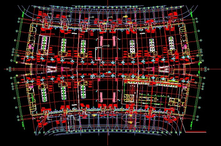 广州白云机场主楼3楼灯具布置平面图