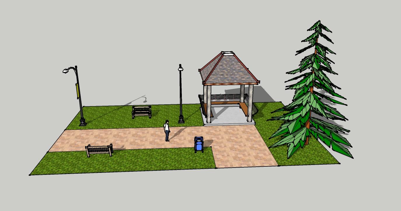园林设计图 凉亭小景