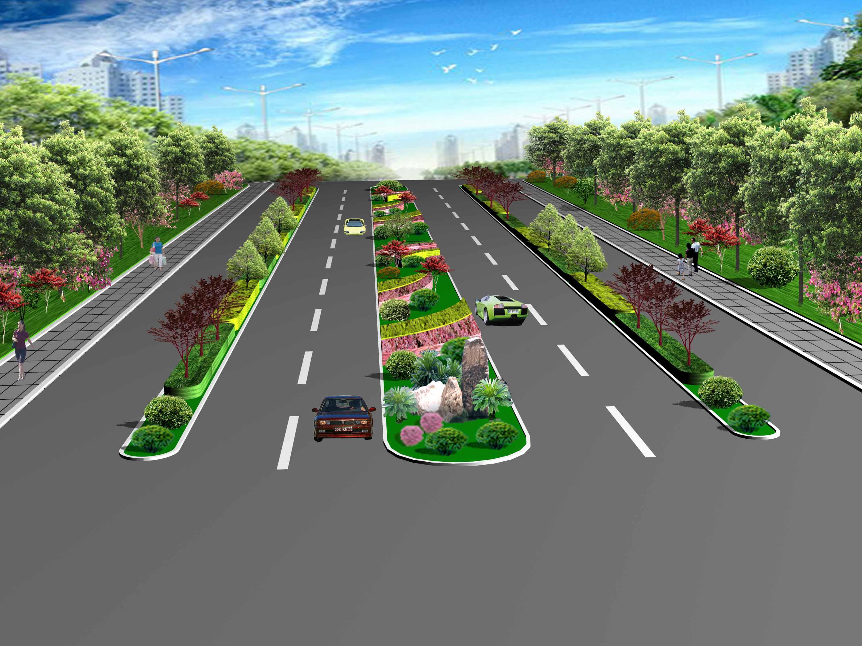 城市道路绿化效果图图片14