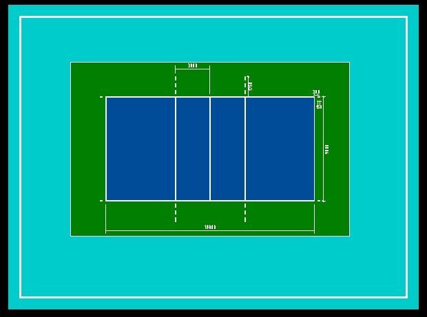 排球场平面�_标准排球场