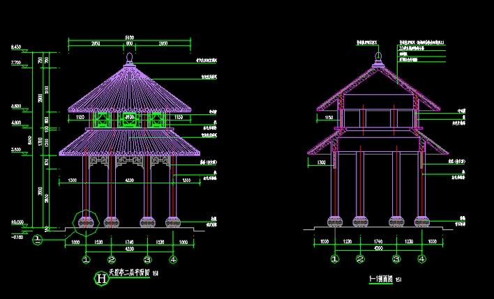 某小区现代欧式风格的重檐景观亭施工图