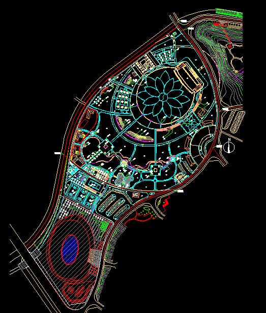酒店规划平面图  所属分类:广场绿化设计 绿化cad图纸 园林设计图
