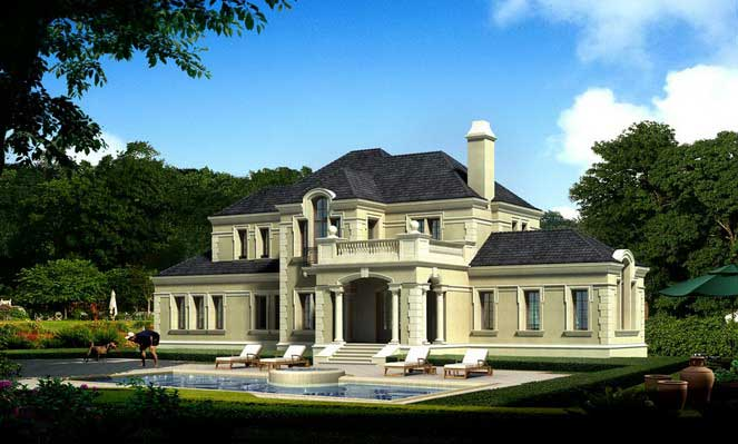 杭州绿城小和山排屋别墅建筑方案设计图 浙江绿城某四层框架结构别墅
