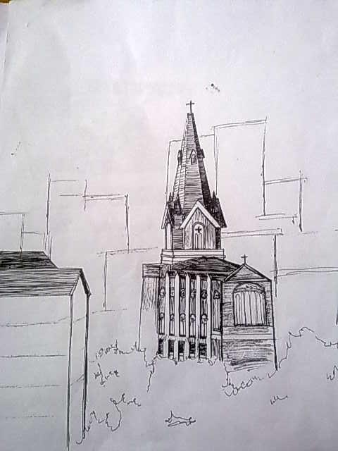 3点透视建筑手绘
