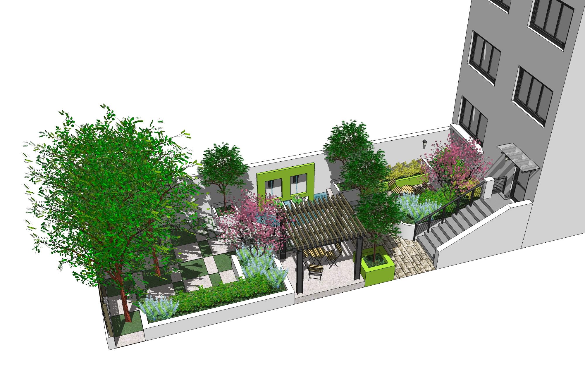 庭院设计鸟瞰图手绘