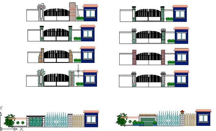 入口土木立面在线cad图_CO项目施工(原网易土大门图纸套的完整所一设计图片