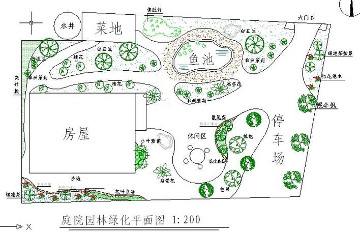居家庭院绿化设计cad平面图图片