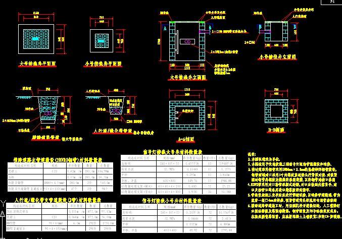 组图纸埋设大洋及连接线井结构图_cad管线下明细表图纸格式图片
