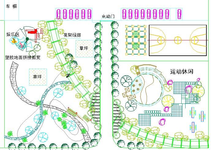 某地亭廊连体小品景观施工图(平面图,立面图,节点详图) 某小区景观总