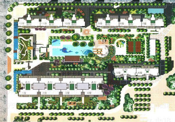 居住区规划总平面图,单体建筑立面图,户型图cad 某花园居住区景观工程