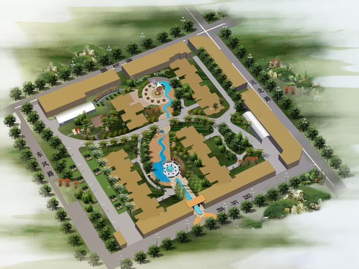 小区绿化设计鸟瞰图