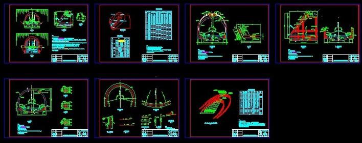 XX隧道缩小式洞门设计图图纸无限斜切天正把命令图片