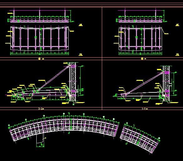 4m,3m)点式玻璃雨篷钢结构施工图 某地商业大楼出入口铝板雨篷大样