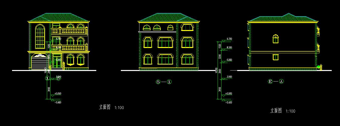 欧式别墅建筑施工图