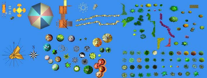 ps植物图块 景观小品ps素材 ps景观素材 ps鸟瞰图素材 园林平面植物