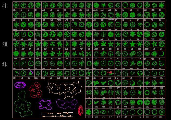 园林cad 植物图例图片