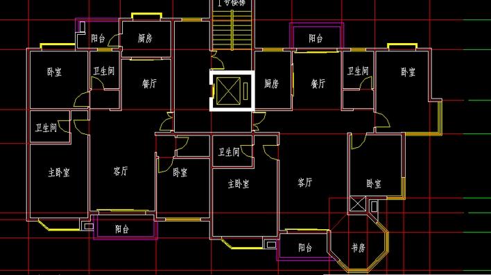 住宅一梯两户平面设计图(autocad)图片