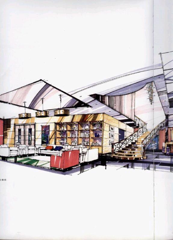 手绘商场平面图手绘空间设计图展示设计手绘立面图