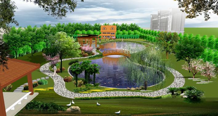 中式园林效果图图片