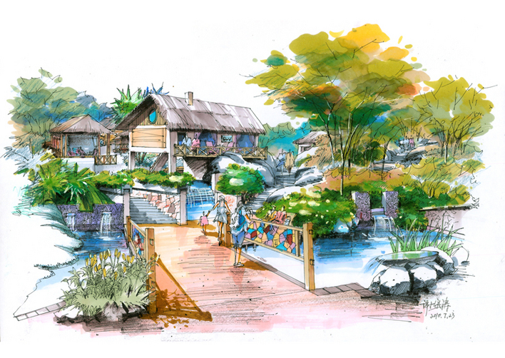 景观手绘 建筑环艺手绘表现图 手绘效果图表现技法 景观小品手绘 手绘