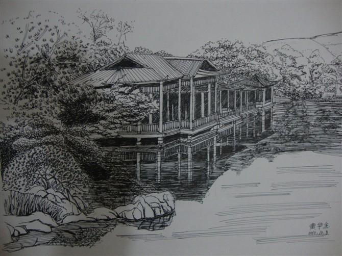 景观水景手绘速写