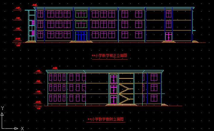费用教学楼转学立面图_cad图纸下载小学建筑小学图片