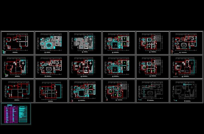 复式家装设计平面图CAD套图
