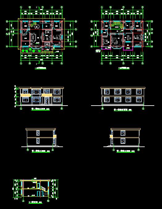 图纸别墅平立剖面图别墅小楼自用房2_cad图永云农村设计二层图片
