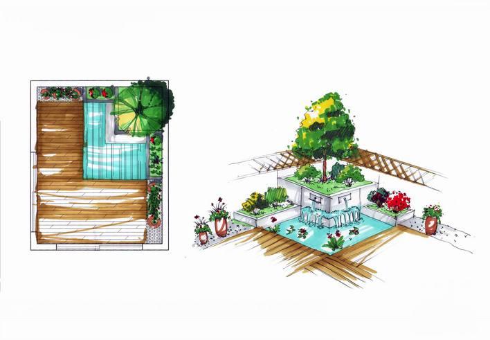 圖現代別墅花園設計現代屋頂花園現代樓頂花園設計現代風格小花壇設計
