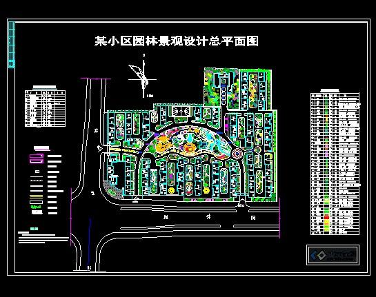 小区园林景观设计总平面图,本图尺寸线,坐标标注建筑物系指图片