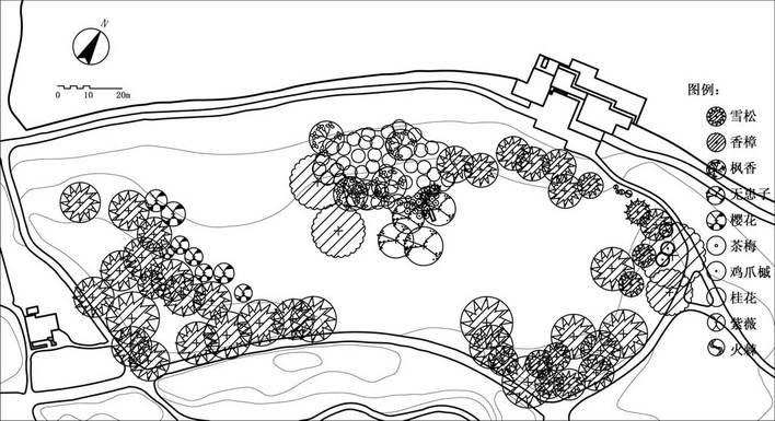 花港观鱼植物配置平面图