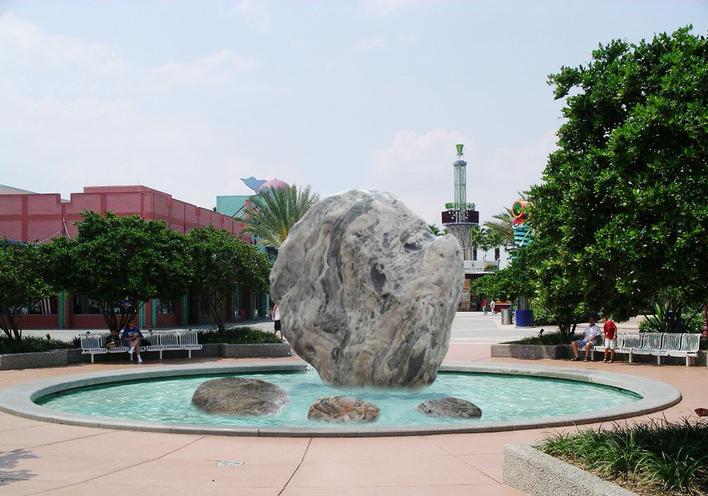休闲广场圆形水池置石效果图