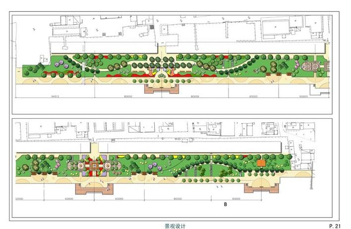 道路景观设计   某道路的景观设计初步,有平面,立面,道路两侧20-30米