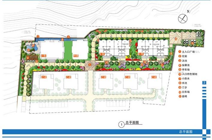 某海景别墅小区景观初步设计图,内有停车场,游泳池,宅前设计