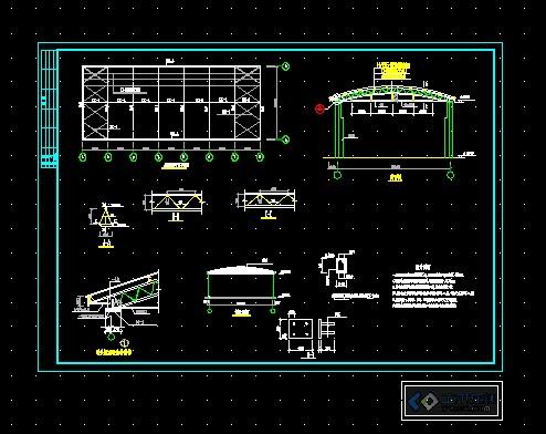 12米跨拱形简易屋面建筑结构设计图_cad图纸380b图纸图片