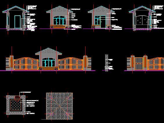 小区围墙及岗亭施工图