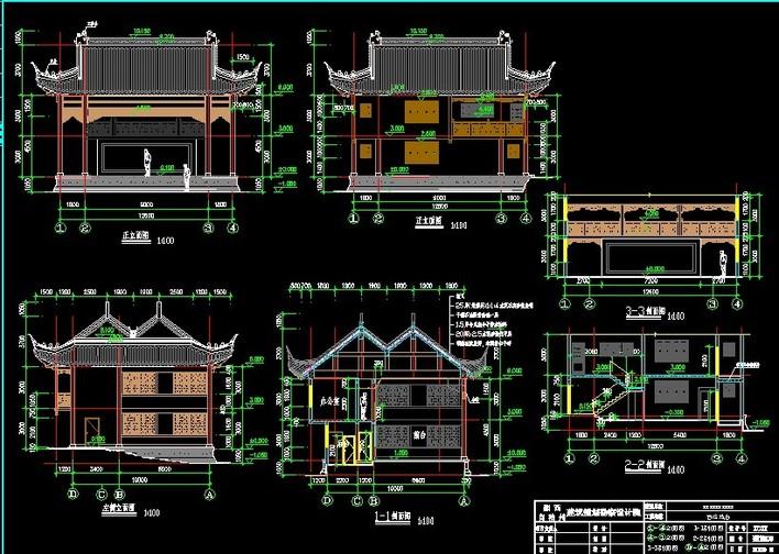 传统古建戏台施工图资料图片