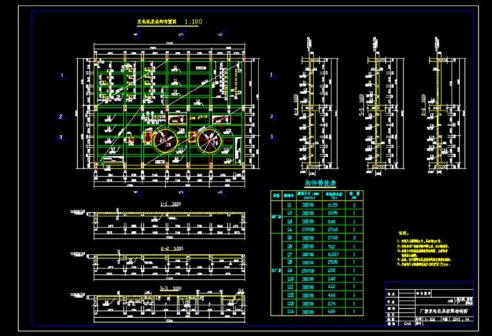 某企业300mw汽轮发电机基座结构施工图