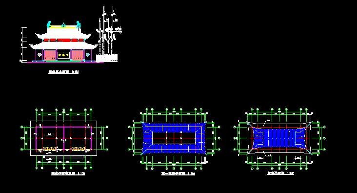 一个祠堂的平面,里面,两重屋檐 相关专题:祠堂设计祠堂改造祠堂效果图