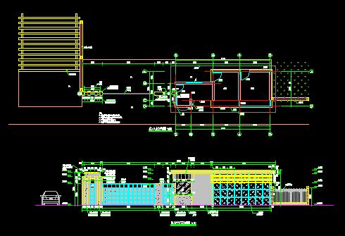 某公园入口节点设计平面图及大门立面图 某小区入口大门设计方案cad及
