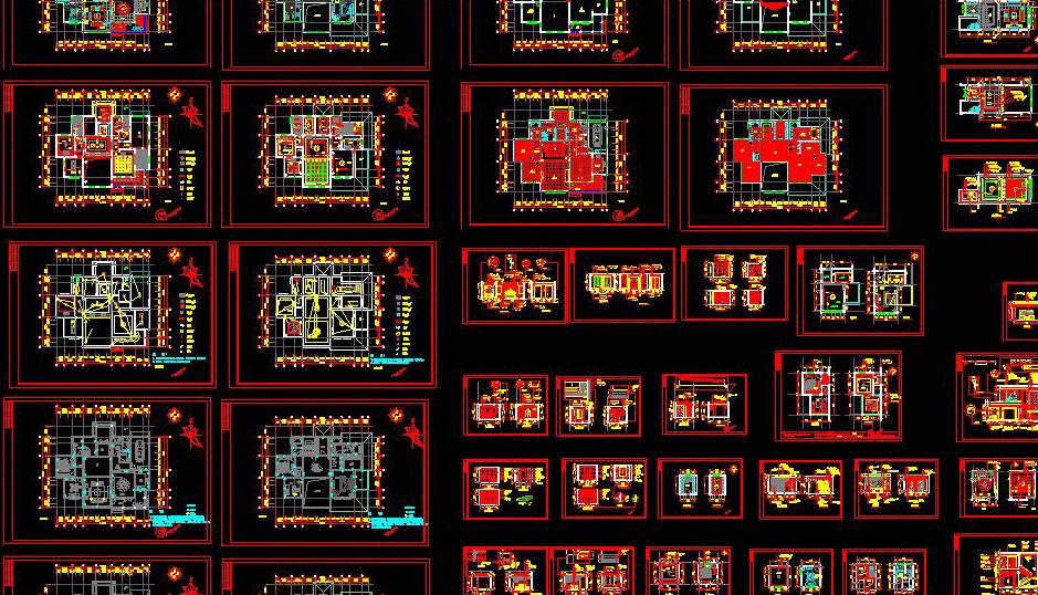 整套欧式别墅设计装修图_cad图纸下载-土木在线
