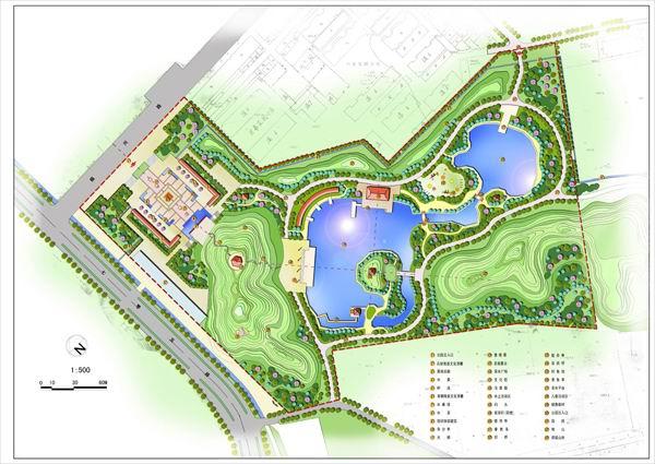某公园彩色平面图_cad图纸下载-土木在线