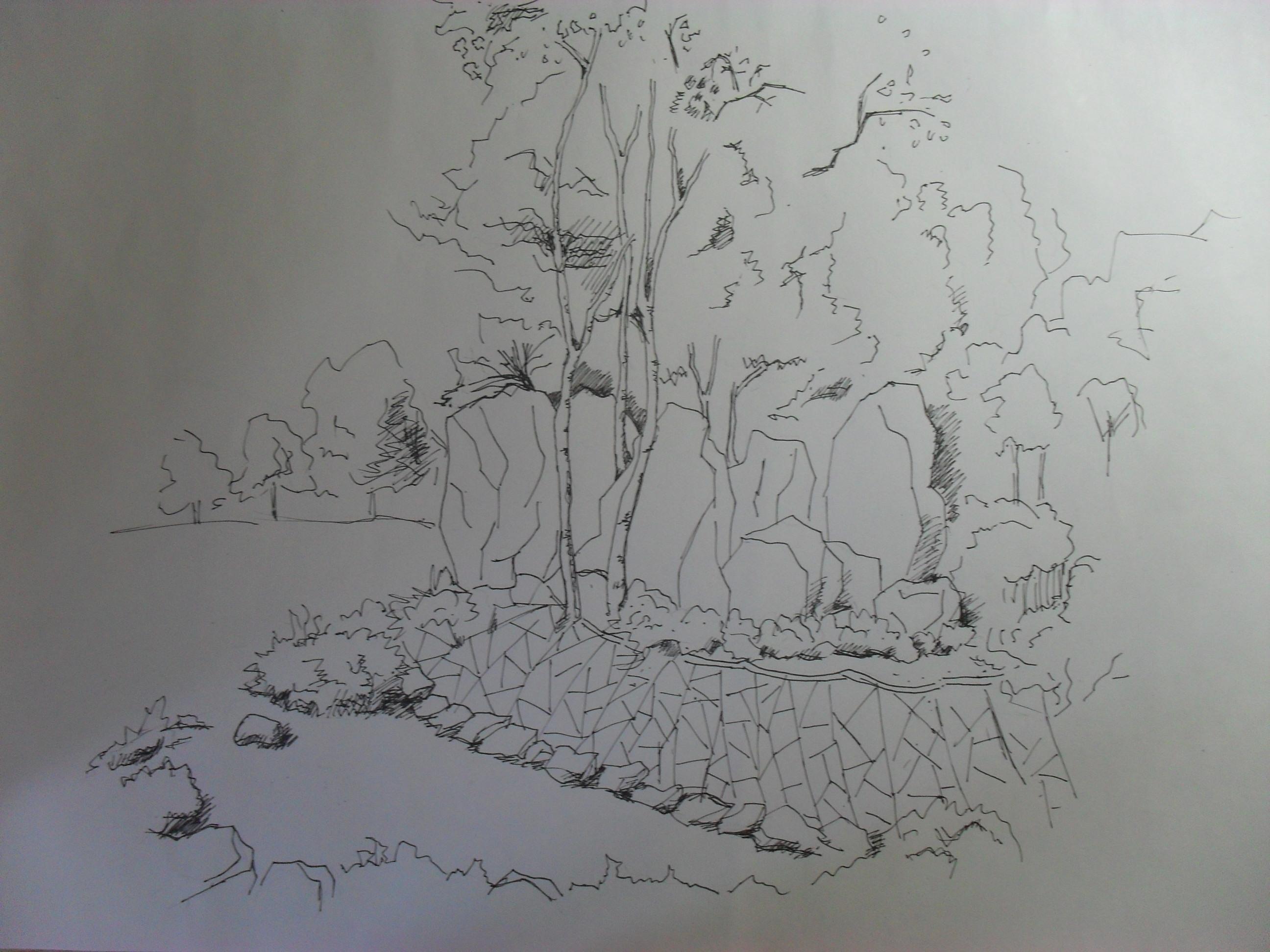 园林节点手绘效果图_cad图纸下载-土木在线
