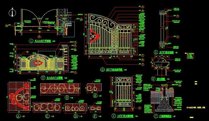 图纸 园林设计图 铁艺大门  上传时间:2011-03-13 所属分类:园林设计图片
