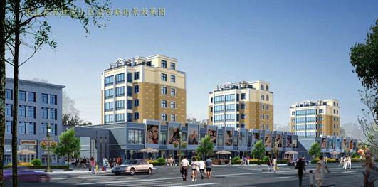 效果图方案 关山悦商业街沿街建筑泛光照明工程设计方案图 某地区三层