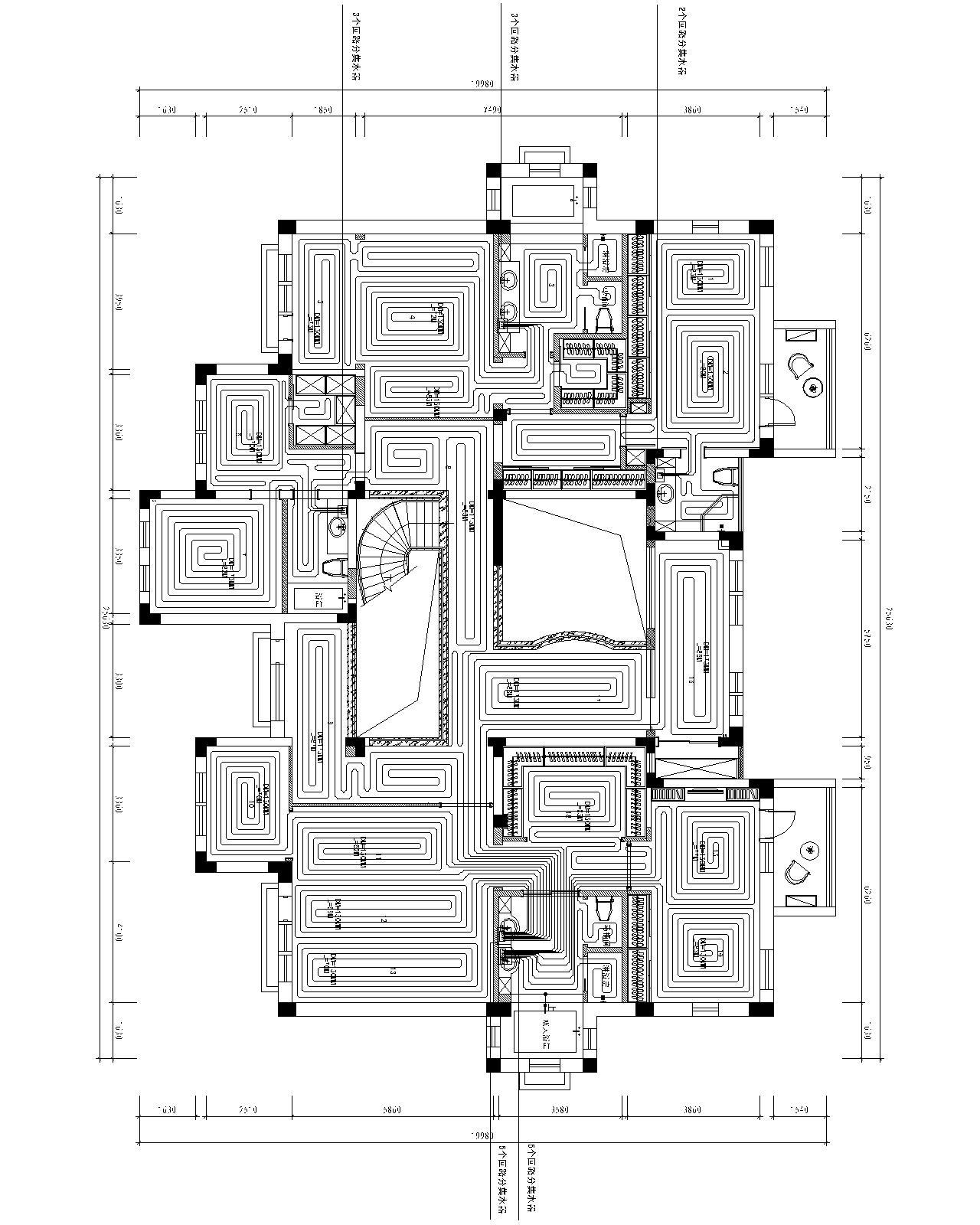700平米别墅地暖设计图