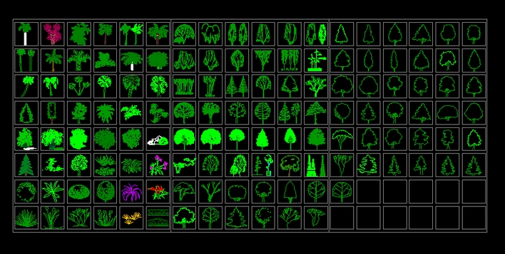 最全的cad植物立面平面图块,图例,适合环保,园林工作者参考.
