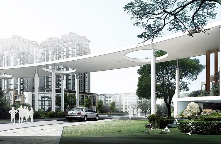 入口广场设计cad 公园入口广场设计 小区入口大门设计 欧式小区入口