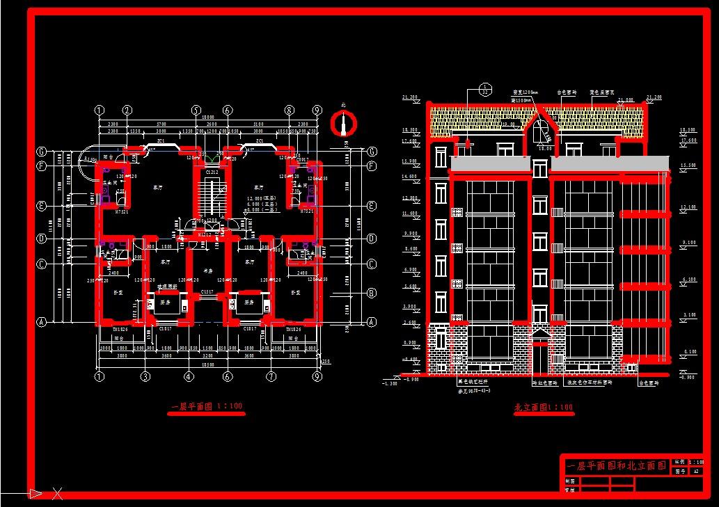 建筑图纸  住户平面图立面图参考